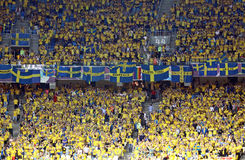 Sweden fans at NSC Olympic stadium Stock Image