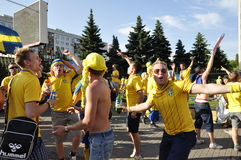 Sweden fans rooting for their team Stock Photos