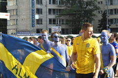 Sweden fans rooting for their team Stock Photo