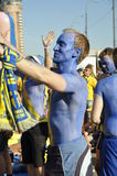 Sweden fans rooting for their team Stock Images