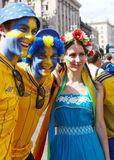 Sweden fans with ukrainian girl Royalty Free Stock Photos