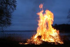 Sweden, Fire, Flames, Bonfire, Sky Stock Images