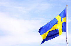 Sweden flag. The Sweden flag outside in the wind Stock Photography