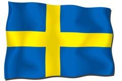 Sweden Flag. Flag of Sweden waving in the wind stock illustration