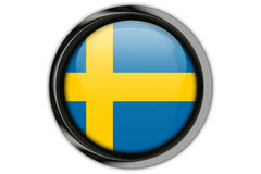 Sweden flag in the button pin Isolated on White Background Stock Photography