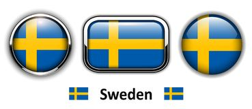 Sweden flag buttons Stock Photography