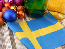 Sweden flag with christmas decoration, new year Royalty Free Stock Photography