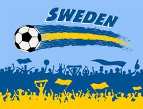 Sweden flag colors with soccer ball and Swede supporters silhoue. Ttes. All the objects, brush strokes and silhouettes are in different layers and the text types Stock Image