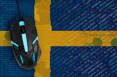 Sweden flag and computer mouse. Digital threat, illegal actions on the Internet. Sweden flag and modern backlit computer mouse. The concept of digital threat royalty free stock photos