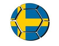 Sweden flag on football ball, 2018 Championship, white backgroun Stock Images