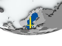 Sweden with flag on globe. 3D render of Sweden with flag on grey globe. 3D illustration Royalty Free Stock Photography