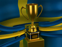 Sweden flag with gold cup. Computer generated image (3d render Royalty Free Stock Images