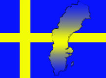 Sweden flag and map Stock Photos