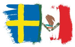 Sweden Flag & Mexico Flag Vector Hand Painted with Rounded Brush. This image is a vector illustration and can be scaled to any size without loss of Stock Photography