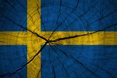 Sweden flag. Painted on old wood plank background Royalty Free Stock Photos