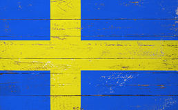 Sweden flag painted on a wooden board Stock Images