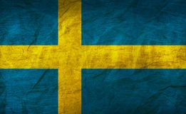 Sweden Flag on Paper. Flag on an old Paper Texture Stock Photo