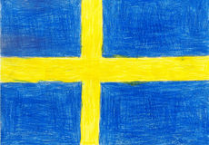 Sweden flag, pencil drawing illustration kid style photo Stock Image