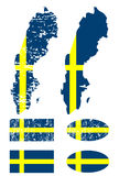 Sweden flag set Stock Images