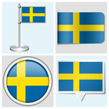 Sweden flag - set of sticker, button, label Stock Photos