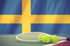 Sweden Flag and Tennis Ball Royalty Free Stock Photo