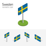 Sweden flag, vector set of 3D isometric icons Royalty Free Stock Photos