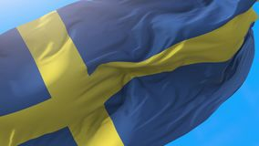 Sweden flag video waving in wind 4K. Realistic Scandinavian background. Swedish background looping 3840x2160 px stock footage
