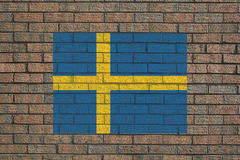 Sweden flag on wall Stock Photo