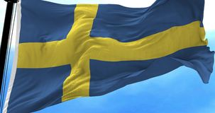Sweden Flag in the Wind. Close up Sweden flag blowing in the wind, looped slowmotion, 4K stock video footage