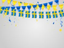 Sweden flags Celebration background with confetti and Yellow and blue ribbons. Sweden flags Celebration background template with confetti and Yellow and blue Stock Illustration