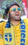 Sweden football fan stock image