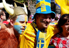 Sweden football fans portraits Royalty Free Stock Photo