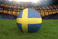 Sweden football team ball on big stadium background. Sweden Team competition concept. Sweden flag on ball team tournament in Russi. A. Sport competition on green Stock Images