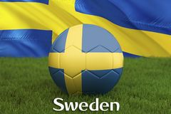 Sweden football team ball on big stadium background. Sweden Team competition concept. Sweden flag on ball team tournament in Russi. A. Sport competition on green Royalty Free Stock Images