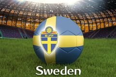 Sweden football team ball on big stadium background with Sweden Team logo competition concept. Sweden flag on ball team tournament. In Russia. Sport competition Royalty Free Stock Photo