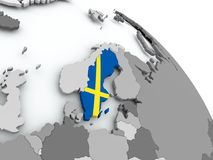 Map of Sweden with flag on globe. Sweden on globe with flag. 3D illustration Royalty Free Stock Photos