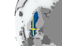 Sweden on globe with flag Stock Image