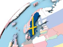 Sweden on globe with flag. Map of Sweden on political globe with embedded flag. 3D illustration Stock Photography