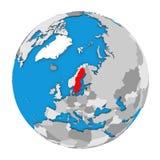 Sweden on globe Stock Image
