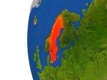 Sweden on globe Stock Photography