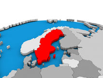 Sweden on globe in red Stock Images