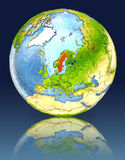 Sweden on globe with reflection. Illustration with detailed planet surface. Elements of this image furnished by NASA Royalty Free Stock Images