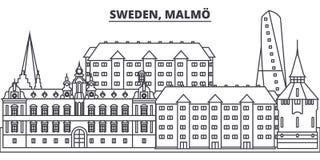 Sweden, Gothenburg line skyline vector illustration. Sweden, Gothenburg linear cityscape with famous landmarks, city royalty free illustration