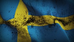 Sweden grunge dirty flag waving on wind. Swedish background fullscreen grease flag blowing on wind. Realistic filth fabric texture on windy day Royalty Free Stock Photo