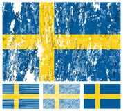 Sweden grunge flag set Royalty Free Stock Photography