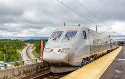 Sweden high-speed train on Sodertälje syd station Royalty Free Stock Photo