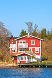 Sweden House. Typical red/white houses of Sweden, Europe Stock Photo