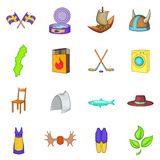 Sweden icons set, cartoon style Royalty Free Stock Image