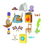 Sweden icons set, cartoon style. Sweden icons set in cartoon style. Elements or symbols of Sweden set collection vector illustration Stock Image