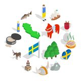 Sweden icons set, isometric 3d style. Sweden icons set in isometric 3d style isolated on white background Stock Photos